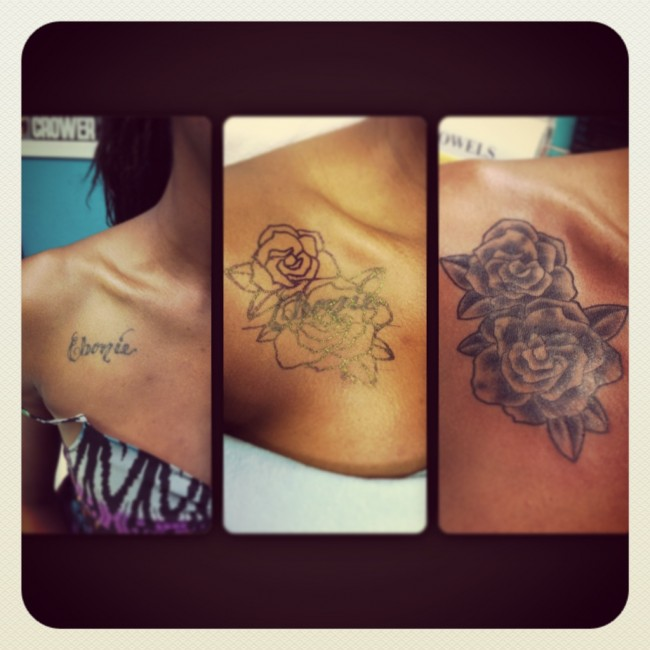 Name Cover-Up with Black & Grey Roses