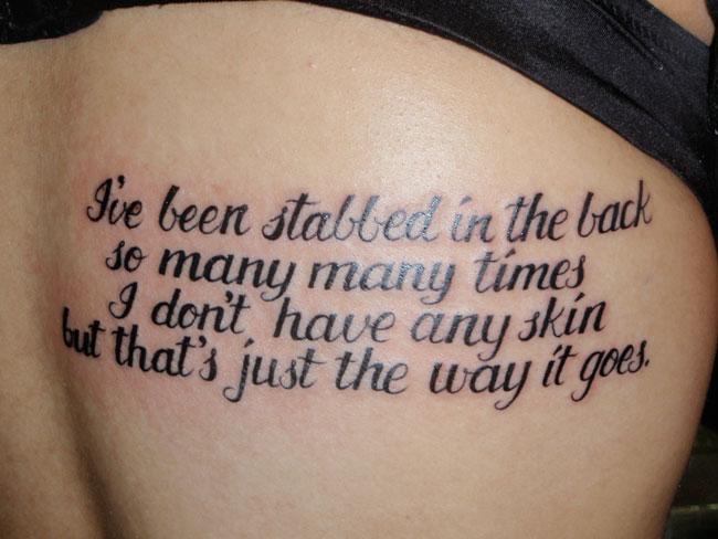 Script Tattoo Four Lines