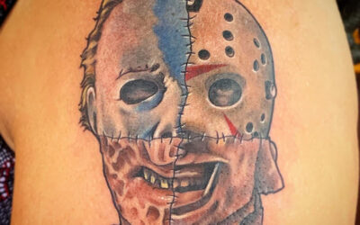 Classic Horror Mask Mashup Tattoo