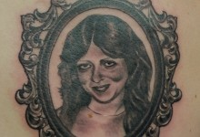 Black and Grey Portrait Tattoo with Rococo Frame