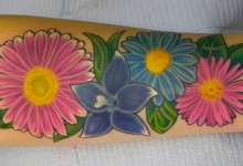 Colorful Flowers Tattoo Design