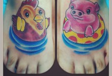 Rooster and Pig Tattoo on Feet
