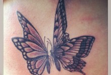 Black and Grey Butterflies Tattoo