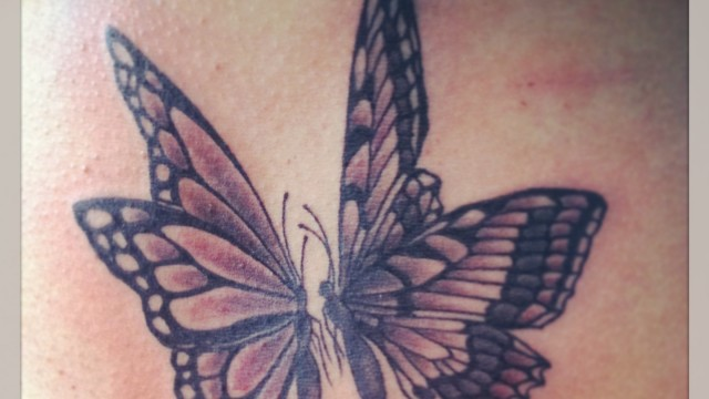 Black and Grey Butterflies Tattoo
