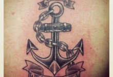 Black and Grey USN Anchor Tattoo