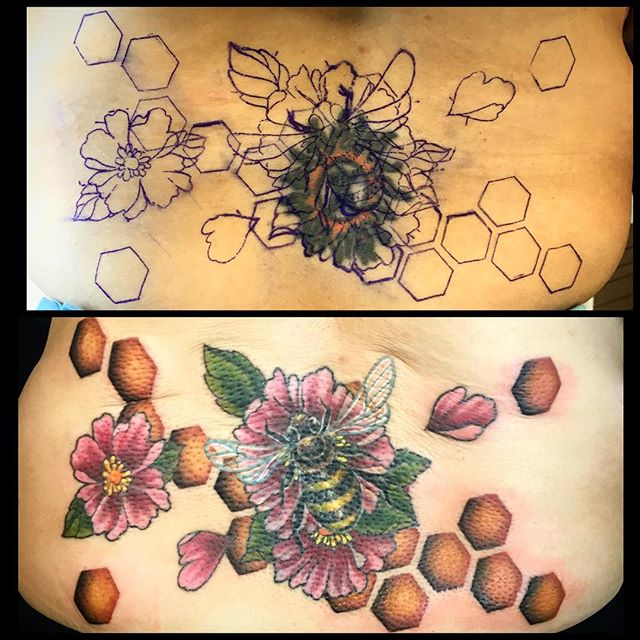 bee honeycomb cover up tattoo